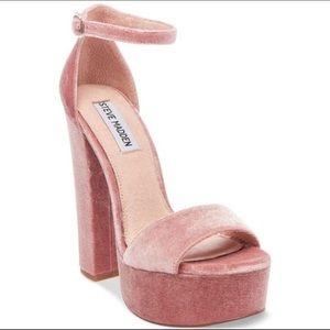 Steve Madden Pink Gonzo Velvet Heel Sandal